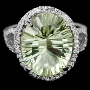 Ring Green Amethyst Genuine Natural Gem Solid Sterling Silver Size Q 1/2  US 8.5