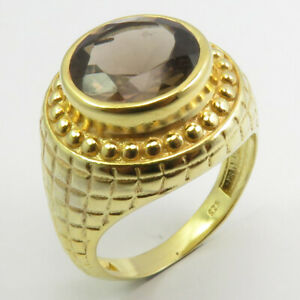 Yellow Gold Plated Genuine SMOKY QUARTZ Ring # 7 925 Pure Silver Handcrafted Art