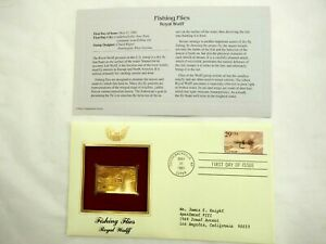 Fishing Flies -Royal Wulff- 22k Gold Stamp Replica 1st Day Issue 5,31,1991
