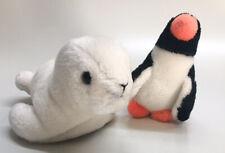 Vintage 1988 Sea World Penguin 6� & White Seal 9� Stuffed Animal Plush