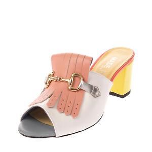Leather Mule Sandals EU 40 UK 7 US 10 Snakeskin Pattern Horsebit Made in Italy