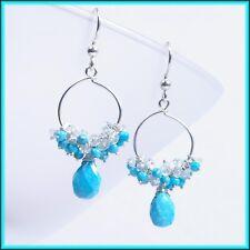 Aquamarine &  Sleeping Beauty Turquoise Cluster Hoop Drop Dangle Silver Earrings