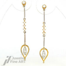 Elegante Ohrhänger 585/14K Gelb-/Weißgold - Brillanten ca. 0,70 ct TW/VSI 4,4 g