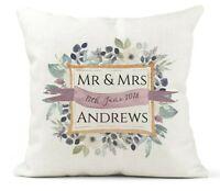 Personalised Cushion. Wedding Gift/Anniversary.Mr & Mrs Keepsake/Floral Gold