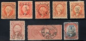 U.S. R15c (5), R25c, R44c & R135, (8) all with attractive cancels, 1862-1871