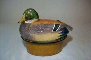 Vintage Portugese GEO duck Ceramic Pate Terrine Duck B25