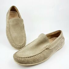 ECCO Men's Classic Moc Perforated Driving Loafer Beige Suede Sz 12 Extra Width