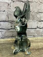 "Glass Blown Bunny Rabbit Gray/Black/Clear 7"" Tall Easter Home Decor Figure EUC"