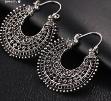 Earrings Hoop Silver Moroccan Ethnic Boho Tribal Arabic Afghan Bohemian Kuchi UK