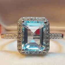 FLAWLESS! 2.90 ct NATURAL AAAAA..AQUAMARINE RING 925 STERLING SILVER.S-E 9.0.