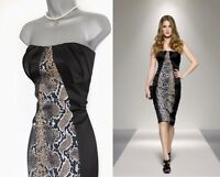 Karen Millen Black Snake Print Satin Strapless Cocktail Pencil Dress UK 12  EU40