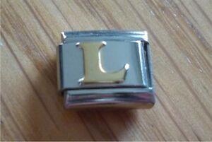Italian Charms - Gold Letters Letter L Fits Classic Size Italian Charm Bracelet