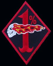 FLAME SKULL HELL OUTLAW MC 1% EMROIDERED IRON ON PATCH