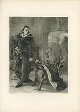 ANTIQUE HAMLET MAN DANISH COSTUME DOG DESIGN WOOD CHAIR ANGEL DENMARK ART PRINT