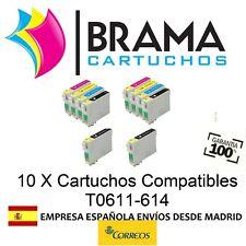 10 COMPATIBLES PARA EPSON NON OEM T0611-614 D68 , D88 ,  DX3800 , DX4800 , T0613