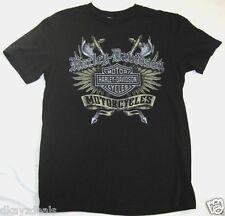 Harley Davidson T-Shirt Men Cotton Size Medium Black Live Free or Die Nashua NH