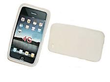 SILICONE Cover Case Custodia Bianco + Pellicola protettiva display per iPhone 4gs