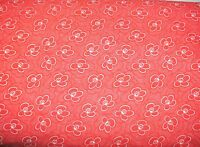 1 Yd Red & White Quilt Fabric White Flower Outlines & Dots on Red Background