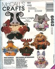 McCalls 6662 Treat Baskets Animal Sewing Pattern Cow Bunny Duck Elephant UNCUT