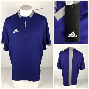 Adidas Mens Small Cage Jacket Fielders Choice 2.0 Purple 1/2 Zip Polyester NWT