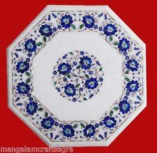 "18"" Marble Coffee Table Handmade Lapis Floral Inlay Pietradura Art  Home Decor"