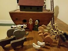 primitive art noah's ark with animals folk art