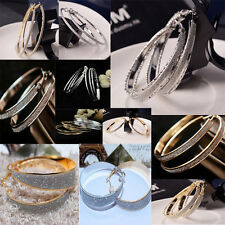 Fine Lady Girl Crystal Diamante Rhinestone Plated Hoop Round Big Circle Earring