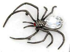 Large Halloween Crystal Rhinestone Black Widow Spider Pin Brooch -USA- Gift Box
