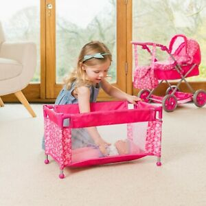 43CM COLLAPSIBLE CRIB TOY,PINK DOLL TRAVEL COT WITH CARRY CASE AS CHRISTMAS GIFT