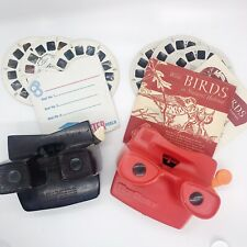 Lot Vintage View Master Viewers Reels Disney Wild Birds Bambi Mickey Red Brown