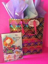 NEW MERMAID BIRTHDAY GIRLS GIFT BAG AND BIRTHDAY CARD SCALES RAINBOW COLORS