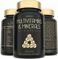 Multi Vitamins and Minerals + Omega 3 - 120 Multivitamin Tablets for Men & Women