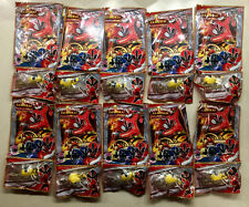 LOT 21x Power Rangers Mini-Figures & Trading Cards (Factory Sealed)(Bandai)(YEL)