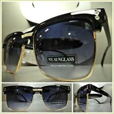 Men's CLASSIC VINTAGE RETRO Style SUN GLASSES Square Black & Gold Fashion Frame