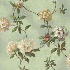 York Wallcoverings HA1289 Green Book Rhododendron/Script Wallpaper 33 FOOT ROLL