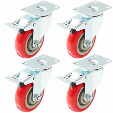"4 Pack 4"" Caster Wheels Swivel Plate Total Lock Brake Red Polyurethane PU"