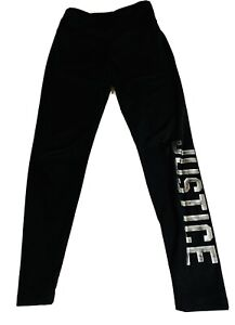Girls Justice Active Leggings Black, Gray Size 8