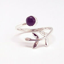Adjustable ring with tiny leaves and Amethyst stone in 925 Sterling Silver