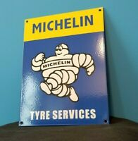 VINTAGE MICHELIN TIRES PORCELAIN GAS BIBENDUM SERVICE AUTO CHEVROLET FORD SIGN