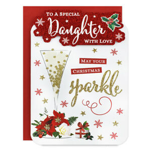 SPECIAL DAUGHTER CHRISTMAS CARD ~ MODERN DESIGN - QUALITY CARD & LOVELY VERSE