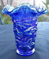 """Fenton Cobalt Blue Carnival Glass Raised Flower (Rose?) Vase Crest Ruffled 6.2"""""""