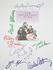 The Breakfast Club Signed Movie Script X7 Hughes Ringwald Estevez Sheedy reprint
