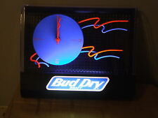Budweiser Bud Dry Draft Bar Back Lit Clock Sign New