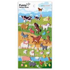 CUTE FARM ANIMAL STICKERS Raised Puffy Vinyl Sticker Sheet Cow Horse Pig Craft