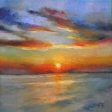 """Sunset Atlas Beach : Original Impressionist Oil Painting : by Fountain : 8"""" X 8"""""""