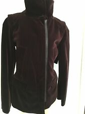 Prada Plum Velvet Jacket Leather Trim Size 44