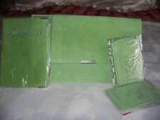 Green Suede Travel wallet set, includes passport holder & luggage tags. New.
