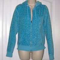 Small Victoria's Secret LOVE PINK Blue Leopard Print Sweatshirt Hoodie Zip-Up