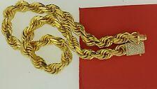 Hip Hop Mens 16mm Rope Chain 14k Solid Gold 450 Grams & 2.90 Carat Diamond Lock