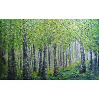 Spring Forest Extra Large Canvas Original Oil Painting Platte Impasto Textured